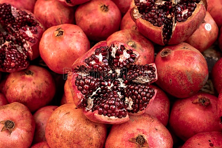 cracked pomegranate ripe pomegranates background