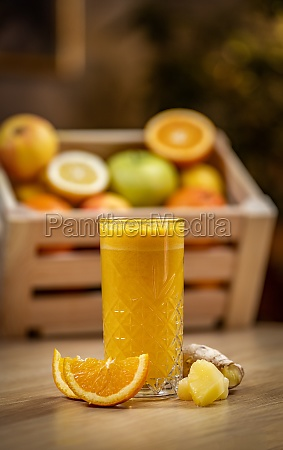 healthy orange pineapple and ginger juice