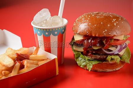 american burger and french fries