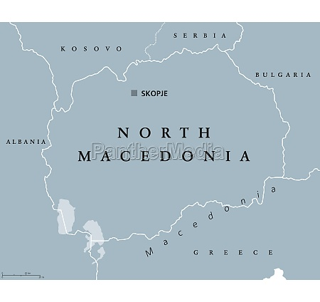 north macedonia gray political map with