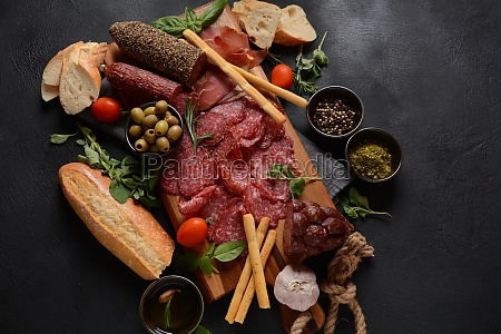 antipasto platter salami smoked sausage and