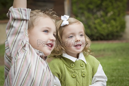 adorable brother and sister children playing