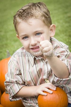 cute young child boy enjoying the