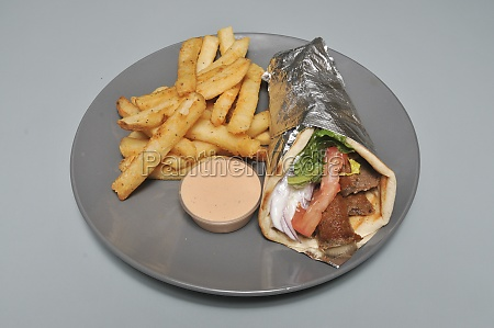 delicious grilled steak gyro