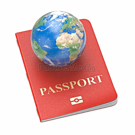 passport with globe on it 3d