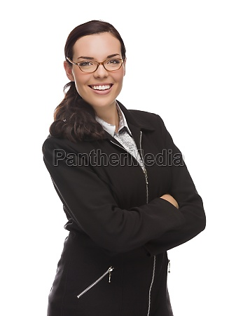 confident mixed race businesswoman isolated on