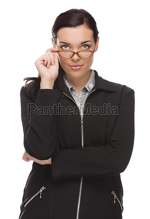 confident mixed race businesswoman touching her