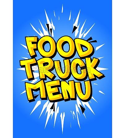 food truck menu comic book