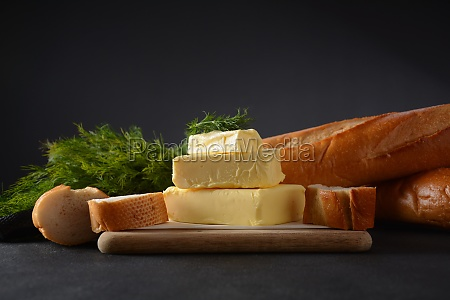 butter slices of butter with parsley