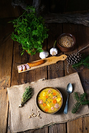 classic pea soup with sausage and