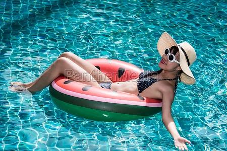 portrait beautiful girl woman enjoying relaxing