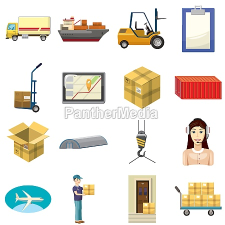 logistics icons set cartoon style