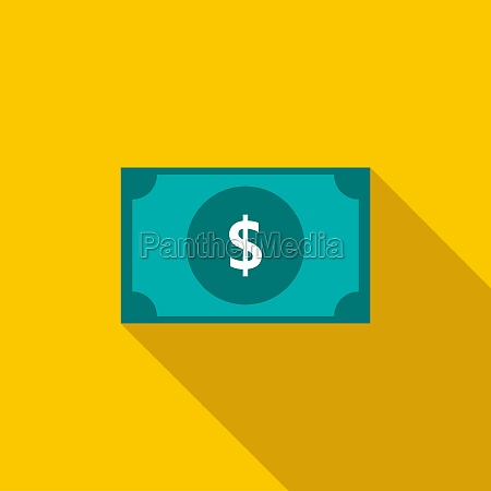 dollar banknote icon flat style