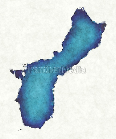 guam map with drawn lines and