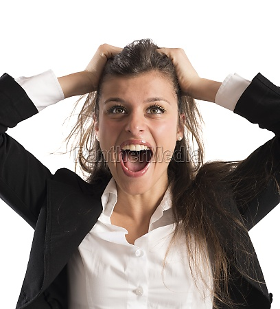 furious businesswoman screams