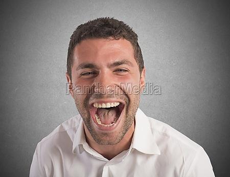 desperate businessman screams