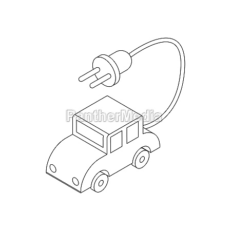 electric car icon isometric 3d style