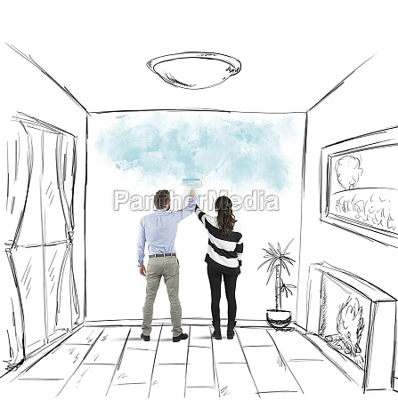 couple painting together
