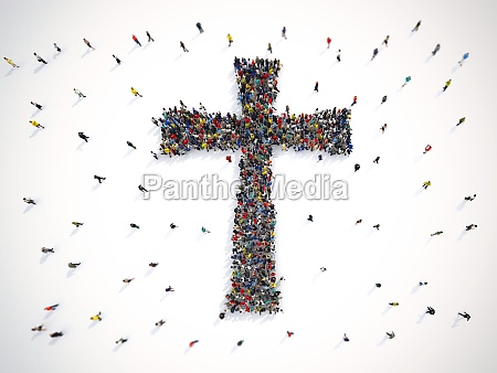 many people together in a crucifix