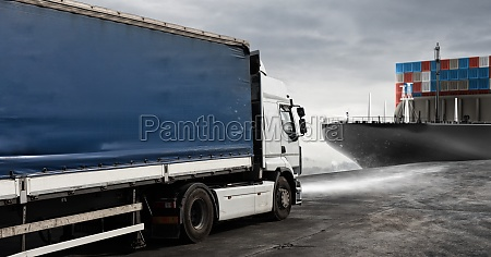 truck and cargo ship ready to