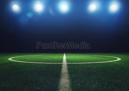 midfield of grass soccer field at
