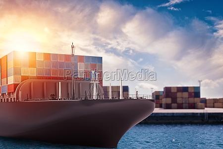 cargo ship at the port ready