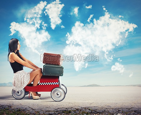 fashion girl driving kid car without
