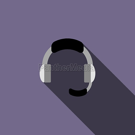headphone for support icon in flat