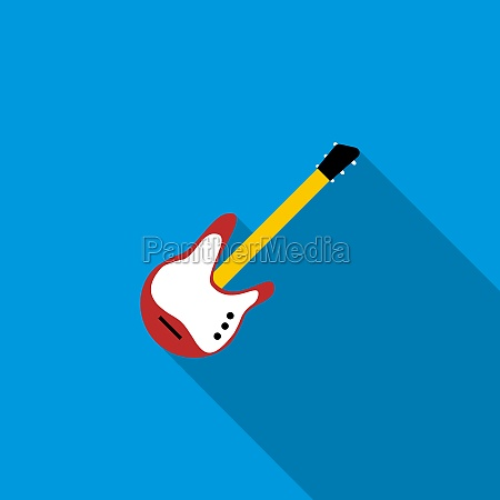 red electric guitar icon flat style