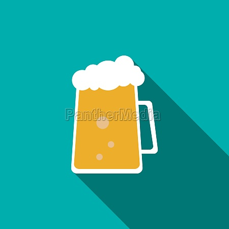 cold beer icon flat style