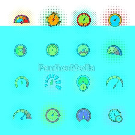 speedometer icons set pop art style