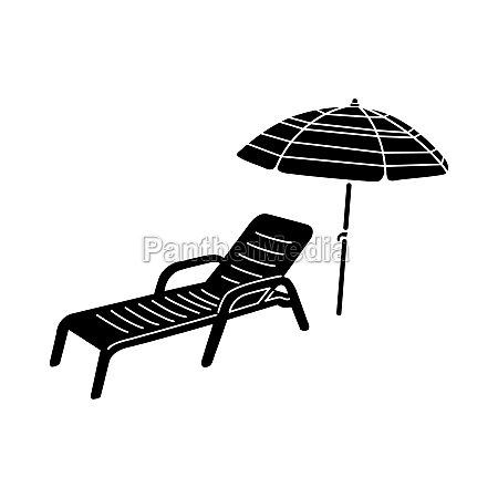 sun lounger and parasol icon simple
