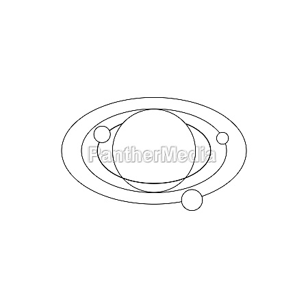 solar system icon isometric 3d style