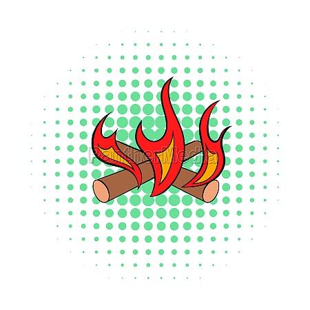 camp fire icon comics style