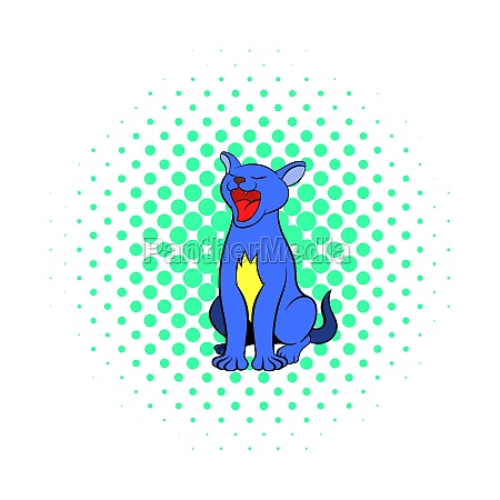blue cat icon comics style