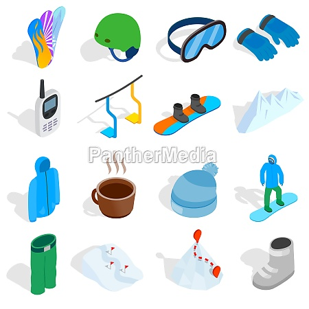 snowboard icons set isometric 3d style