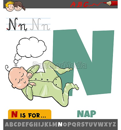 letter n from alphabet with nap