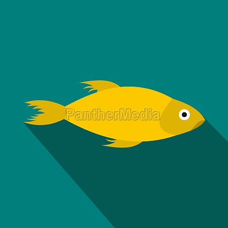 yellow marine fish icon flat style