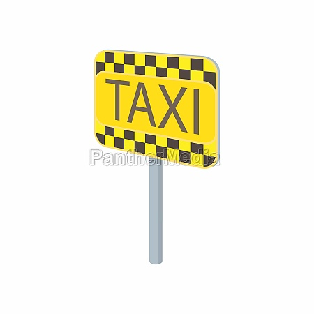 taxi sign icon in cartoon style