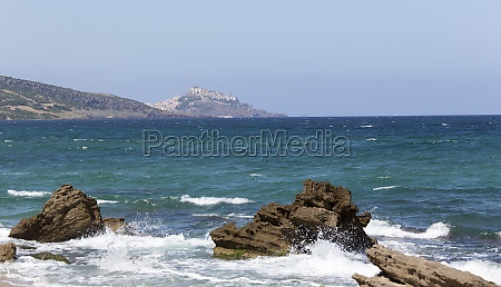view of sardinia coast with castelsardo