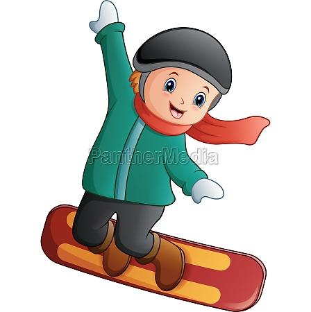 cartoon boy playing snowboard