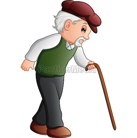 vector illustration of old man walking