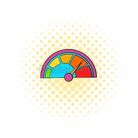 colorful tachometer icon comics style