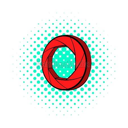 red camera icon comics style