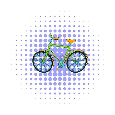 green bike icon comics style