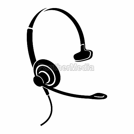 headphones with microphone icon simple style