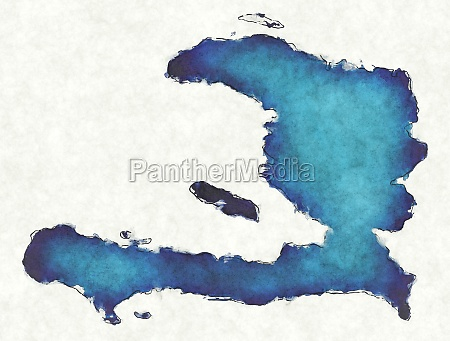haiti map with drawn lines and