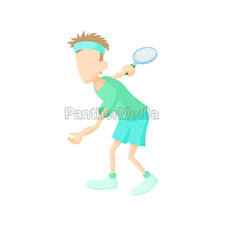 tennis player icon cartoon style