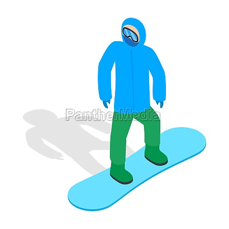 snowboarder with snowboard deck icon