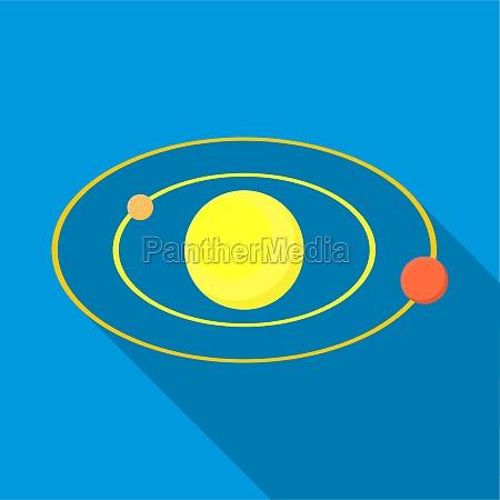 solar system icon flat style
